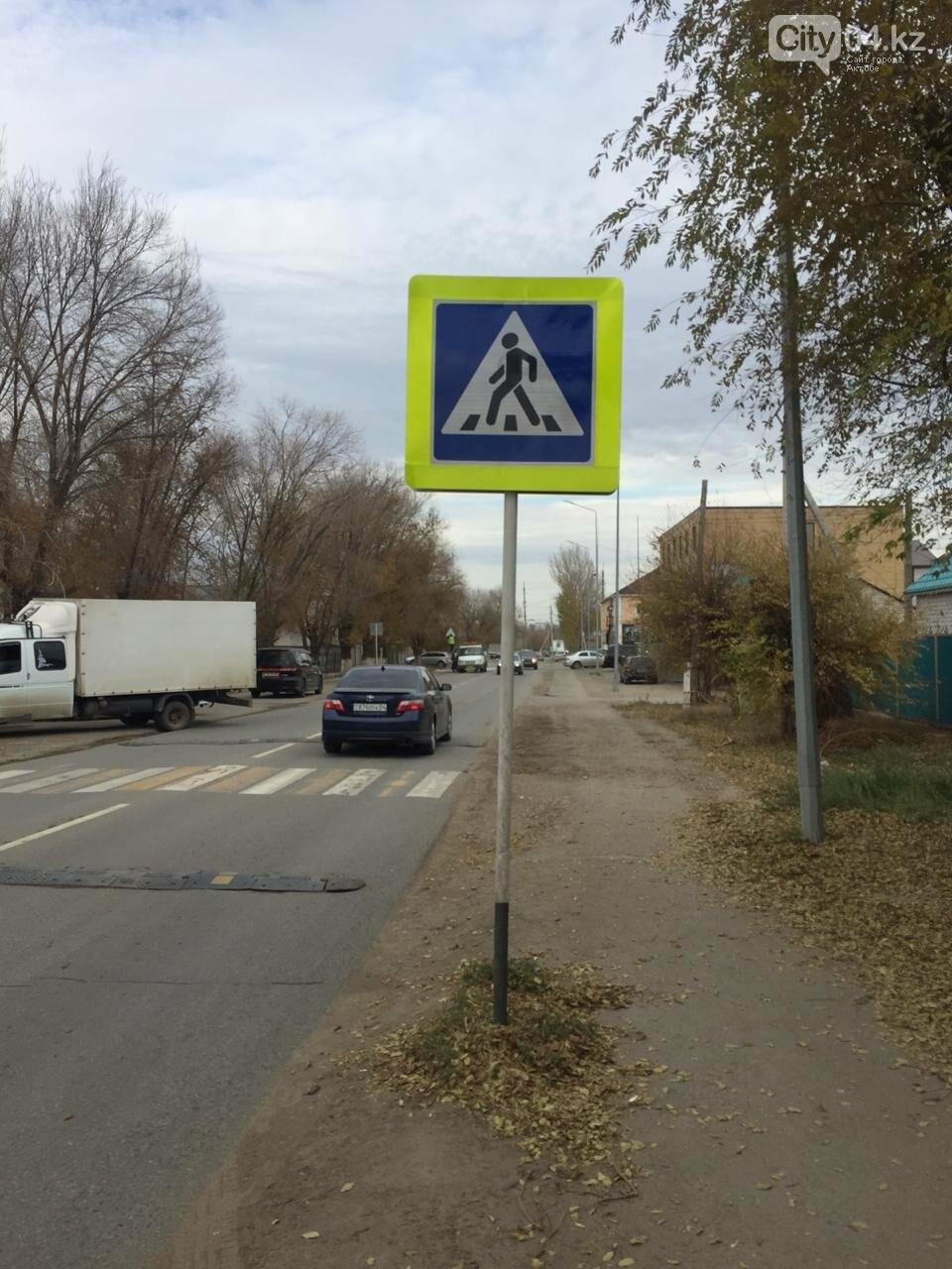 В Актобе на улице Тайбекова поставили дополнительные дорожные знаки перед школой, фото-1